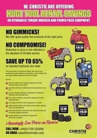 Save up to 65% on Standard Hydraulic Torque Tool Hire Rates