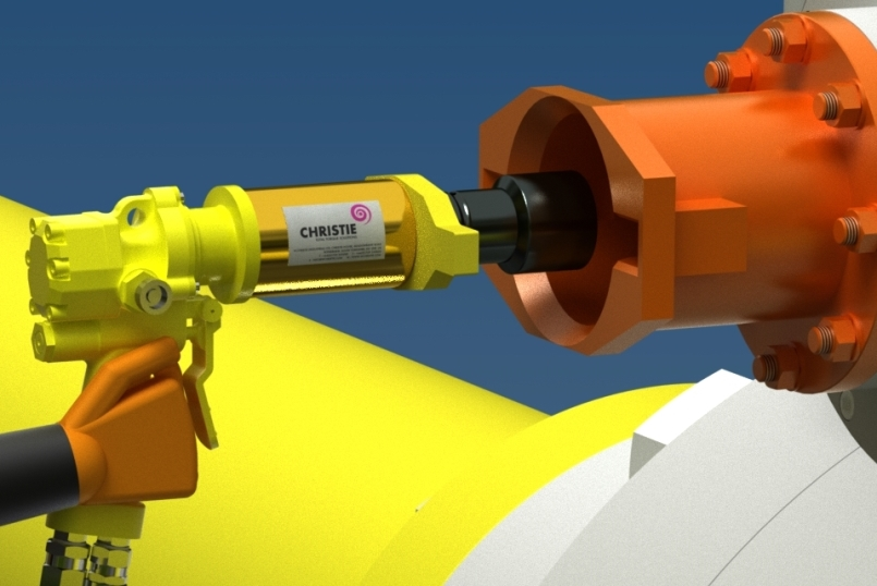 Hyspan PG subsea suitable Hydraulic Torque Tool in use with a ROV Bucket Reaction in a subsea environment
